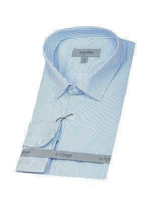 Сорочка STENSER. Цвет: синий, белый