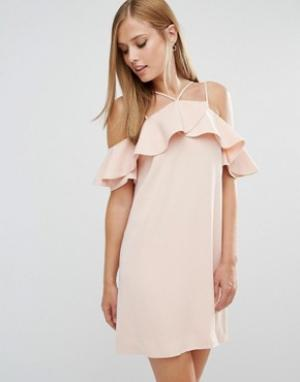 Keepsake Платье с оборками Bitter Sweet. Цвет: розовый