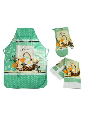 Набор кухонного текстиля: фартук, полотенце, варежка Русские подарки. Цвет: бирюзовый, белый, коричневый, оранжевый