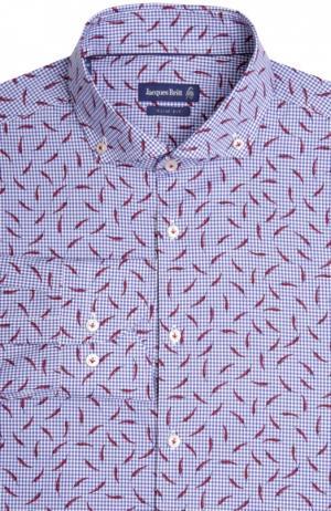 Приталенная сорочка с принтом Jacques Britt. Цвет: синий