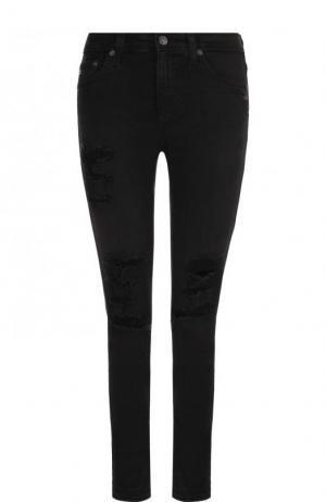 Укороченные джинсы-скинни с потертостями Ag. Цвет: черный