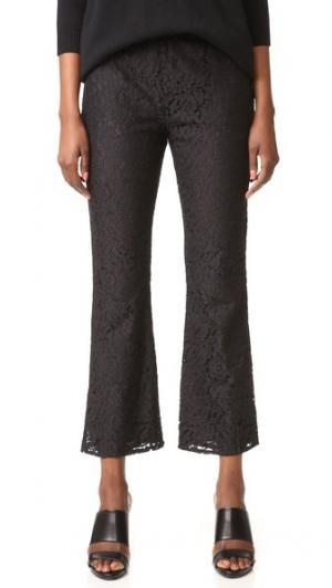 Расклешенные укороченные брюки из кружева Jenni Kayne. Цвет: голубой