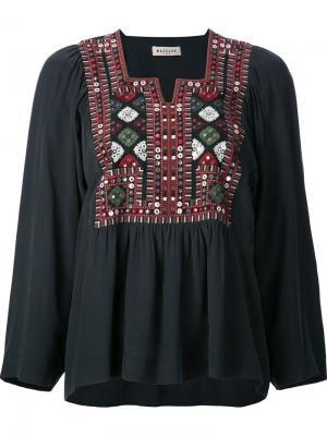 Блузка  геометрической вышивкой Masscob. Цвет: чёрный