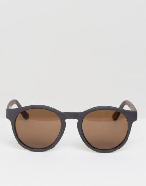 AJ Morgan Круглые солнцезащитные очки с контрастной боковой отделкой. Цвет: черный