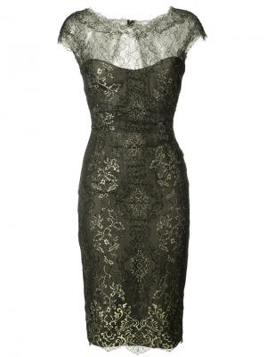 Кружевное платье с эффектом металлик Monique Lhuillier. Цвет: чёрный