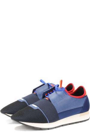 Текстильные кроссовки Race с отделкой из натуральной кожи Balenciaga. Цвет: темно-синий