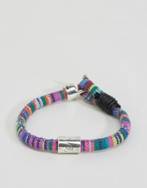Icon Brand Плетеный браслет с ацтекским узором. Цвет: мульти
