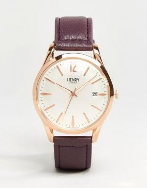 Henry London Часы с фиолетовым ремешком Hampstead HL39-S-0082. Цвет: серебряный