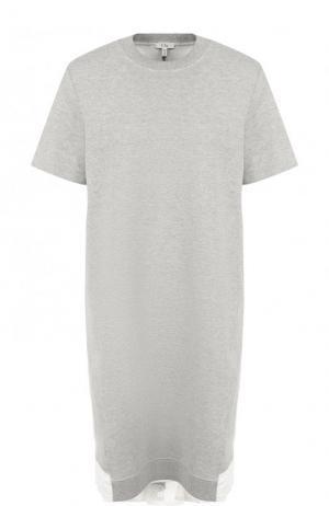 Хлопковое мини-платье с контрастной вставкой на спинке Clu. Цвет: серый