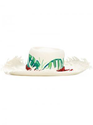 Шляпа Frayed Palmas Sensi Studio. Цвет: белый