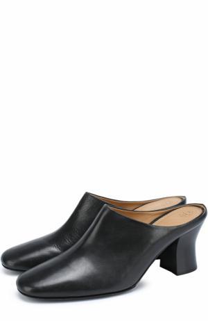 Кожаные мюли на устойчивом каблуке The Row. Цвет: черный