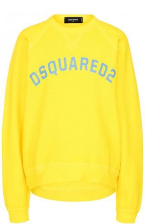 Однотонный хлопковый свитшот свободного кроя Dsquared2. Цвет: желтый