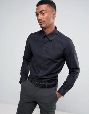 Burton Menswear Узкая рубашка с запонками. Цвет: черный
