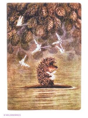 Обложка для паспорта Ежик плывет Mitya Veselkov. Цвет: коричневый, зеленый