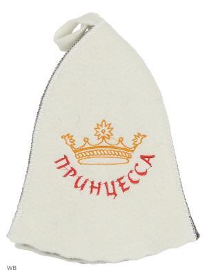 Шапка для бани с вышивкой в косметичке Принцесса Метиз. Цвет: белый, серый