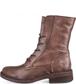 Коричневые ботикни на молнии и шнуровке Felmini. Цвет: коричневый