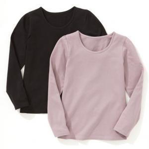Комплект из 2 однотонных футболок с длинными рукавами на 3-12 лет R édition. Цвет: белый + ярко-синий,белый/светло-розовый,черный + серо-сиреневый