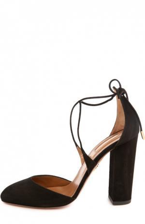 Замшевые туфли Karlie на устойчивом каблуке Aquazzura. Цвет: черный