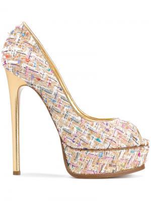 Твидовые туфли на платформе Casadei. Цвет: многоцветный