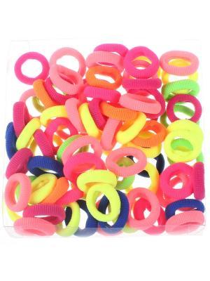 Резинки для волос в коробочке простые ребристые разноцветные 2 см, коробка 70 штук, мягкие Радужки. Цвет: синий,зеленый,красный