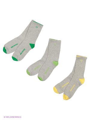 Носки спортивные 3 пары Unlimited. Цвет: зеленый, салатовый, серый меланж, желтый