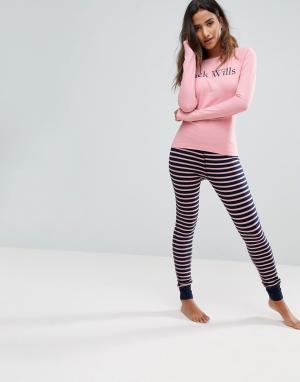 Jack Wills Пижама с полосатыми леггинсами и топом логотипом. Цвет: мульти