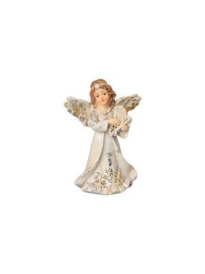 Фигурка декоративная Ангел с арфой Elan Gallery. Цвет: молочный, золотистый, серебристый, бежевый