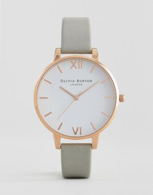 Olivia Burton Часы с большим белым циферблатом OB16BDW02. Цвет: серый