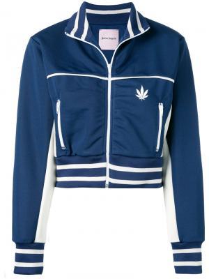 Укороченная спортивная куртка Palm Angels. Цвет: синий