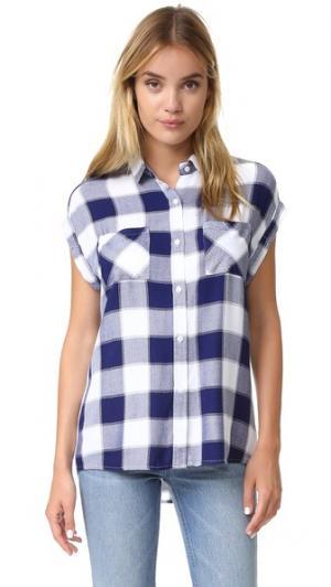 Рубашка на пуговицах Britt с короткими рукавами RAILS. Цвет: темно-синий/белая крупная клетка
