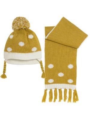 Комплект: шапка, шарф CHICCO. Цвет: горчичный