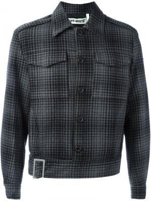 Клетчатая куртка с полосатой спиной Off-White. Цвет: чёрный