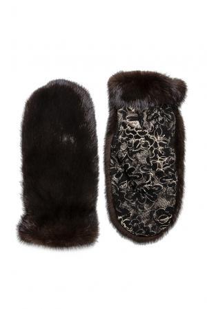 Варежки из меха норки 182543 Mkc. Цвет: коричневый