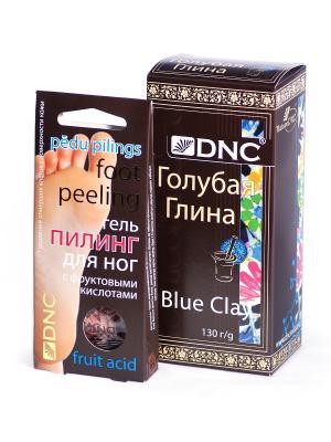 Набор: Пилинг для ног с фруктовыми кислотами, 2*20 мл.; Глина голубая 130 г DNC. Цвет: голубой, прозрачный