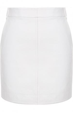 Однотонная кожаная мини-юбка Givenchy. Цвет: белый