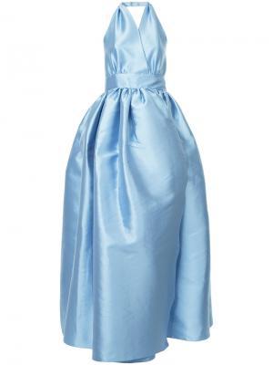 Расклешенное платье с открытой спиной Alexis Mabille. Цвет: синий