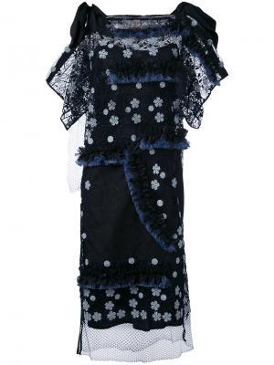 Платье с цветочным принтом и бахромой Antonio Marras. Цвет: чёрный