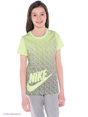 Футболка CAT FUTURA PARTY TEE YTH Nike. Цвет: салатовый, темно-синий