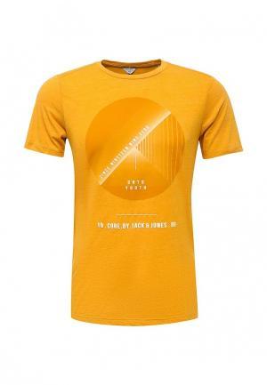 Футболка Jack & Jones. Цвет: оранжевый