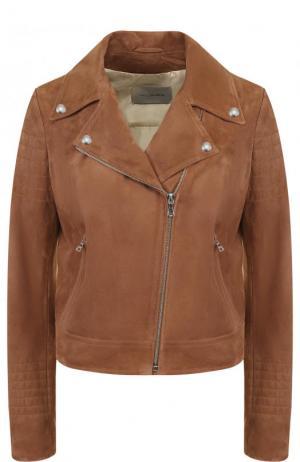Укороченная замшевая куртка с косой молнией Yves Salomon. Цвет: коричневый