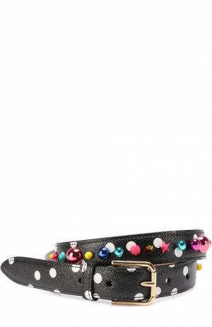 Кожаный ремень с принтом и декором Dolce & Gabbana. Цвет: черно-белый