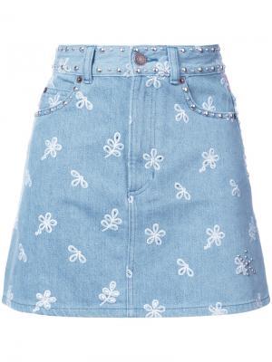 Короткая юбка с вышивкой Marc Jacobs. Цвет: синий