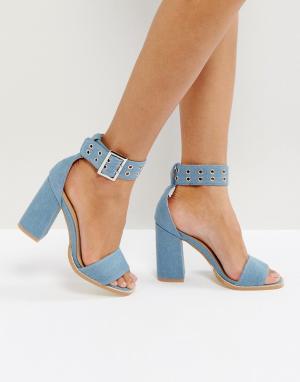 Raid Синие джинсовые босоножки на блочном каблуке Rorey. Цвет: синий