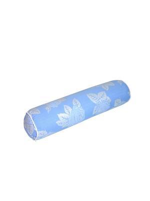 Подушка Валик с иск. бамбуковым волокном SMART-TEXTILE. Цвет: голубой