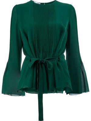 Блузка с плиссировками спереди Oscar de la Renta. Цвет: зелёный