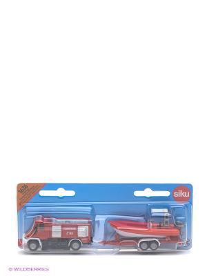 Пожарная машина с катером SIKU. Цвет: красный