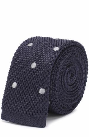 Шелковый вязаный галстук Lanvin. Цвет: темно-синий