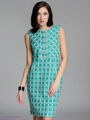 Платье LUIGI FERRO. Цвет: зеленый, светло-бежевый