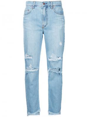 Укороченные джинсы Frankie Nobody Denim. Цвет: синий