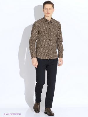 Рубашка MERC. Цвет: темно-коричневый, кремовый